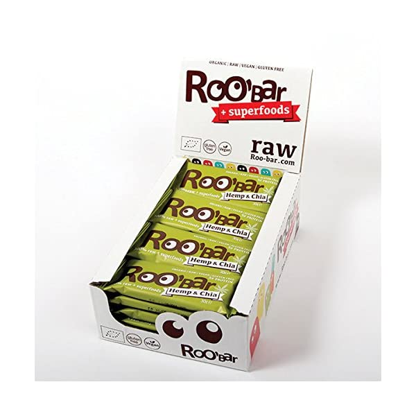 ROO'BAR Hemp Protein & Chia – 20 bars (20x 30g) – Raw Superfood Bar (organic, vegan, glutenfree, raw)