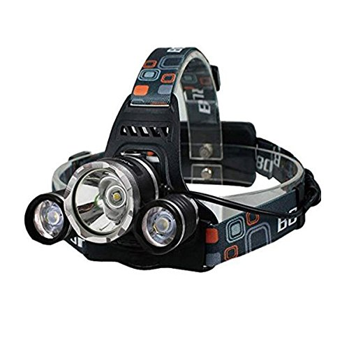 Headlamp 5000 lumens Bright Headlight Headlamp Flashlight Torch 3 CREE XML T6 LED with Rechargeable Batteries and Wall Charger for Hiking Camping Riding Fishing Hunting