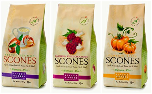 Sticky Fingers Fall/Winter Holiday Scone Mix Bundle #2 with Pumpkin Spice, Spiced Eggnogg and Raspberry White Chocolate Scone Mix, 16 Oz Each (3 Bags - Raspberry Scone Mix