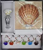 Lions Paw Seashell / Shell Wine Gift Set - Includes Stopper, 6 Charms and 20 Napkins