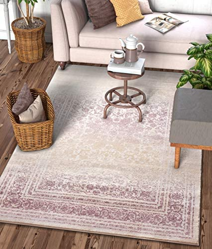 Well Woven Celine Lavender Persian Vintage Medallion 9×13 9 3 x 12 6 Area Rug Purple Modern Distressed Oriental Carpet