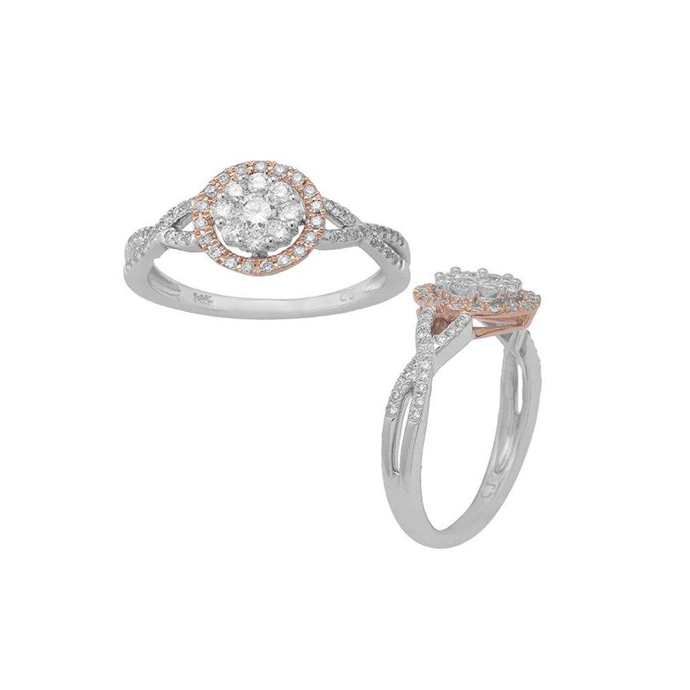 0.50 Ctw Cluster Diamond Circle Halo Top Ring