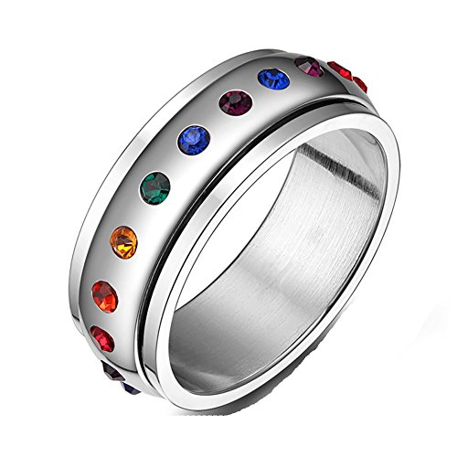 JAJAFOOK Jewelry Stainless Steel Cubic Zirconia Ring, Spins Rainbow Circle Band Ring, 8mm, -