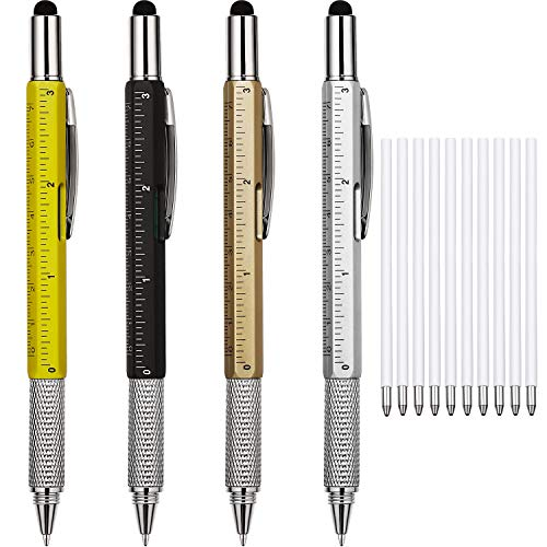 4 Pieces Gift Pen for Men 6 in 1 Multitool Tech Tool Pen Screwdriver Pen with Ruler, Levelgauge, Ballpoint Pen and Pen Refills, Unique Gifts for Men (Color Set 1)