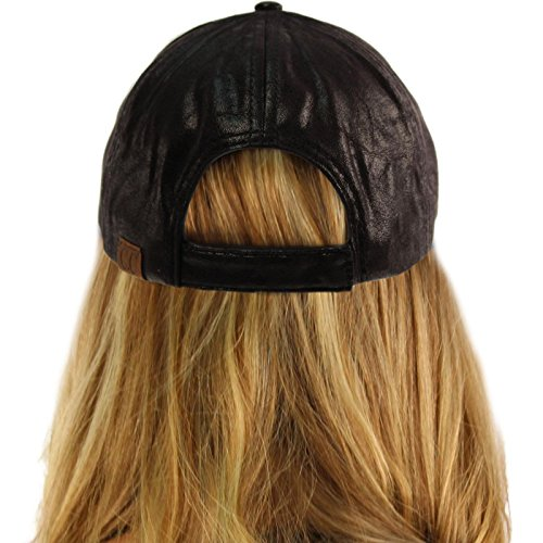 CC Everyday Vintage Distressed Faux Leather Baseball Adjustable Cap Hat Black