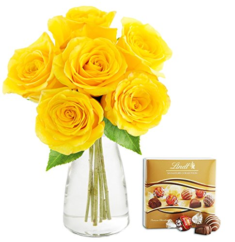 KaBloom Bouquet of Sunshine Yellow Roses: 6 Fresh Cut Yellow Roses (Long Stemmed