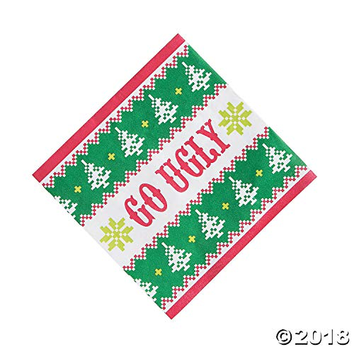 Ugly Christmas Sweater Party Supplies Pack Plates Napkins Award
