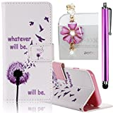 Samsung Galaxy A5 (2016 Version) Case, Boince 3 in 1 Accessory Book Style Magnetic Snap PU Leather Flip Wallet Case + [Diamond Antidust Plug] + [Metal Stylus Pen] Anti Scratch Shockproof Full Body Skin Cover Protective Bumper-Danelion and Birds