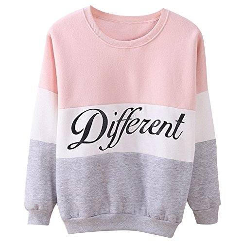 over Letters Different Printed Mix Color Cute Women Girl Clothes (M, Pink) (Cute Color Printed)