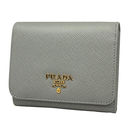 Prada Gray Saffiano Leather Tri-fold Wallet 1ML176