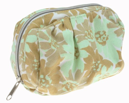 Capelli New York Abstract Daisy Printed Canvas Cosmetic Bag Ivory Combo