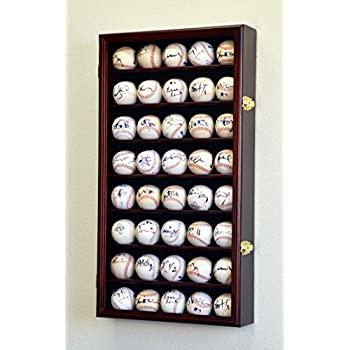 Image of 40 Baseball Display Case Cabinet Holder Wall Rack w/ UV Protection -Cherry