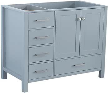 """ARIEL 42"""" inch Grey Bathroom Vanity Base Cabinet with ..."""