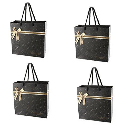 eDealMax Spots Motif Papier de vacances Dcor Bowknot Anniversaire de Mariage Paquet Cadeau Sac de stockage 4 Pcs Noir