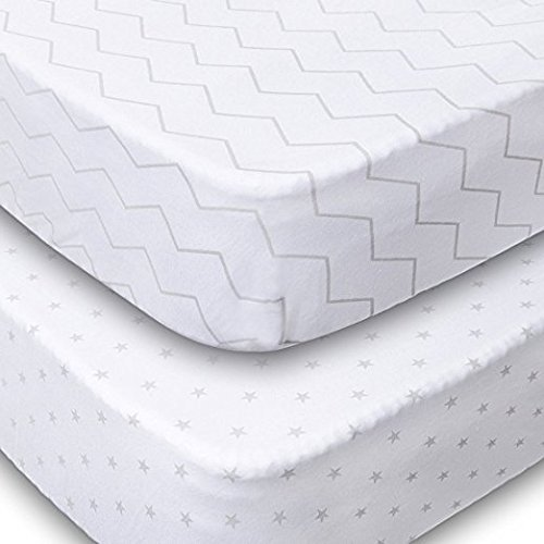 Playard Sheets, 2 Pack Fitted Soft Jersey Cotton Playpen Sheet,