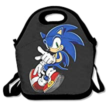 DSYBTV Lunch Bag Sonic The Hedgehog Lunch Tote Lunch Box For Women Men Kids With Adjustable Strap