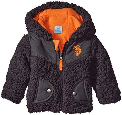 U.S. Polo Assn. Baby Boys' Soft Whubby Shell Jacket, Medium Heather Grey, 24 Months