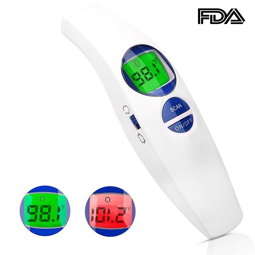 MIQIKO Non Contact Infrared Forehead Thermometer for Babies Children Adults Medical Accurate Fever Alarm No Touch CE... (White + blue)