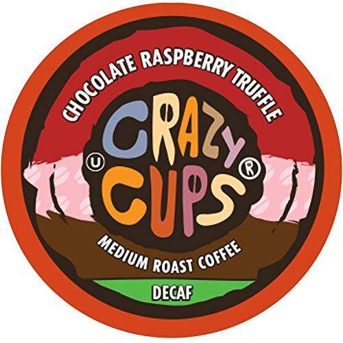 (Crazy Cups Flavored Decaf Hot or Iced Coffee, for the Keurig K Cups Coffee 2.0 Brewers, Decaf Chocolate Raspberry Truffle, 22 Count)