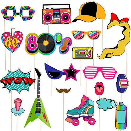 LUOEM 21pcs 80s Photo Booth Props Funny Birthday Party Photo Props Wooden Sticks Creative Party Supplies, Perfect 1980s Theme Birthday Party Decoration Accessories]()
