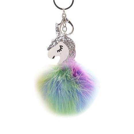 BIGBOBA 1 × Multicolor Peluche Unicornio Colgante Llavero ...