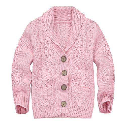 4 Button Cardigan (Zebra Fish Little Girls Sweaters Girls Button Up Sweater Long Sleeve Casual Girls' Knit Cardigan 3-4T)