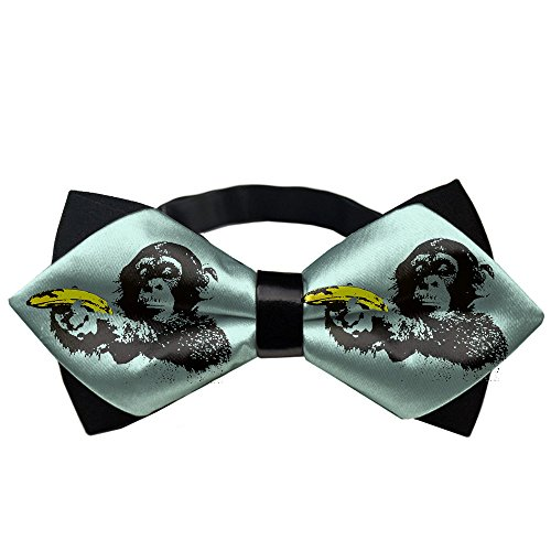 AMERICAN TANG Mens Silk Bowtie Gift Monkey Holds A Banana Gun Bow Ties For Men Teen Boys