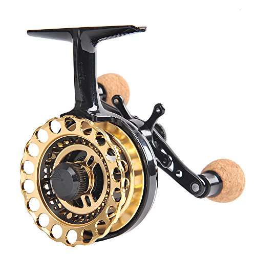 Fiblink Inline Ice Fishing Reel Right/Left Handed Fishing Raft Wheel Ice Reels (Black & Gold, Right Handed)