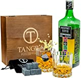 Whiskey Granite Stones Luxury Gift Set of 8 Ice Cubes.Reusable Chilling Rocks+2 Crystal Regular Size Scotch Glasses in Wooden Box and Velvet Bag by TANGRA (Granite Whiskey Stones)