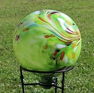 "Glass Gazing Ball ""Over Opal Green "" 12 Inch by Iron Art Glass Designs"