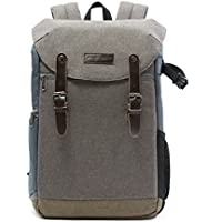 BAGSMART Camera Backpack with 15.6 Inch Laptop Compartment and Waterproof Rain Cover for SLR/DSLR Cameras and Accessories, Grey