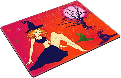 MSD Place Mat Non-Slip Natural Rubber Desk Pads design: 32883701 Elegant Halloween girl with green eyes among sinister cobwebs and spiders in moonlight night hand drawing