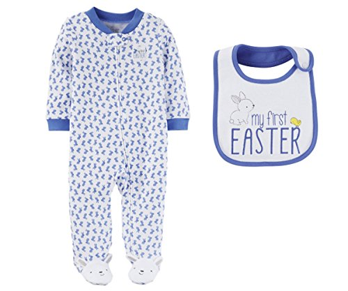 Just One You by Carters Baby Boys My First Easter Footed Sleeper with Bib (Newborn, Blue Bunny - My First Easter)