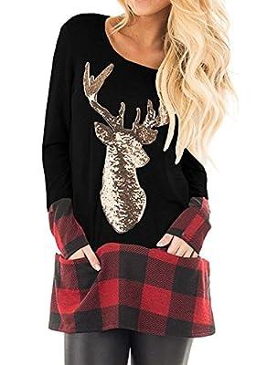 Umeko Womens Christmas Shirts Sequin Deer Long Sleeve Shirt Dress Plaid Loose Tunic Tops