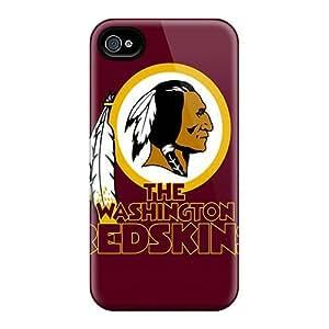 Fashion Tpu Case For Iphone 4/4s- Redskins Nfl Team Logos X Pixels Washington Defender Case Cover