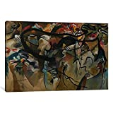 Museum quality Composition V by Wassily Kandinsky Canvas Print. Out of passion for art, iCanvas handcrafts the highest quality giclee art prints, using only premium materials. The art piece comes gallery wrapped, ready for wall hanging with no additi...