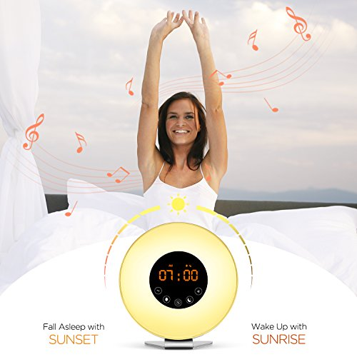 Sunrise Alarm Clock [2018 Upgraded] Wake Up Light with 6 Natural Sounds, Digital FM Radio, Sunrise and Sunset Simulation, Snooze Function and 7 Colors LED Night Light for Bedrooms