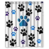 Dog Paw Prints Waterproof Fabric Polyester Bathroom Shower Curtain with 12 Hooks 60'(w) x 72'(h)