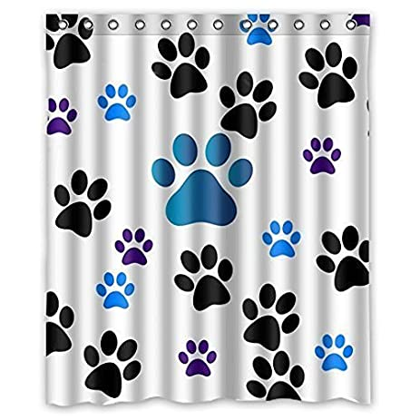 Charming Family Decor Dog Paw Prints Waterproof Fabric Polyester Bathroom Shower  Curtain With 12 Hooks 72u0026quot;