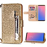 Galaxy S9 Plus Case, Bling Shiny Glitter Leather Wallet Case with Zipper Kickstand Magnetic Closure Card Slots Shockproof Soft TPU Back Bumper Protective Cover for Samsung Galaxy S9 Plus - Gold