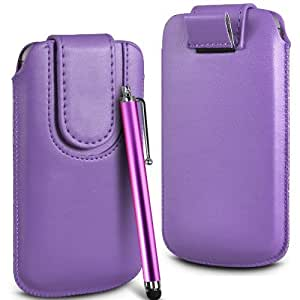 Online-Gadgets UK - Prima cuero de la PU del caso del tirón de la bolsa Con Tire Tab cierre magnético y alta sensibilidad Stylus Pen para Alcatel One Touch S'Pop - luz púrpura