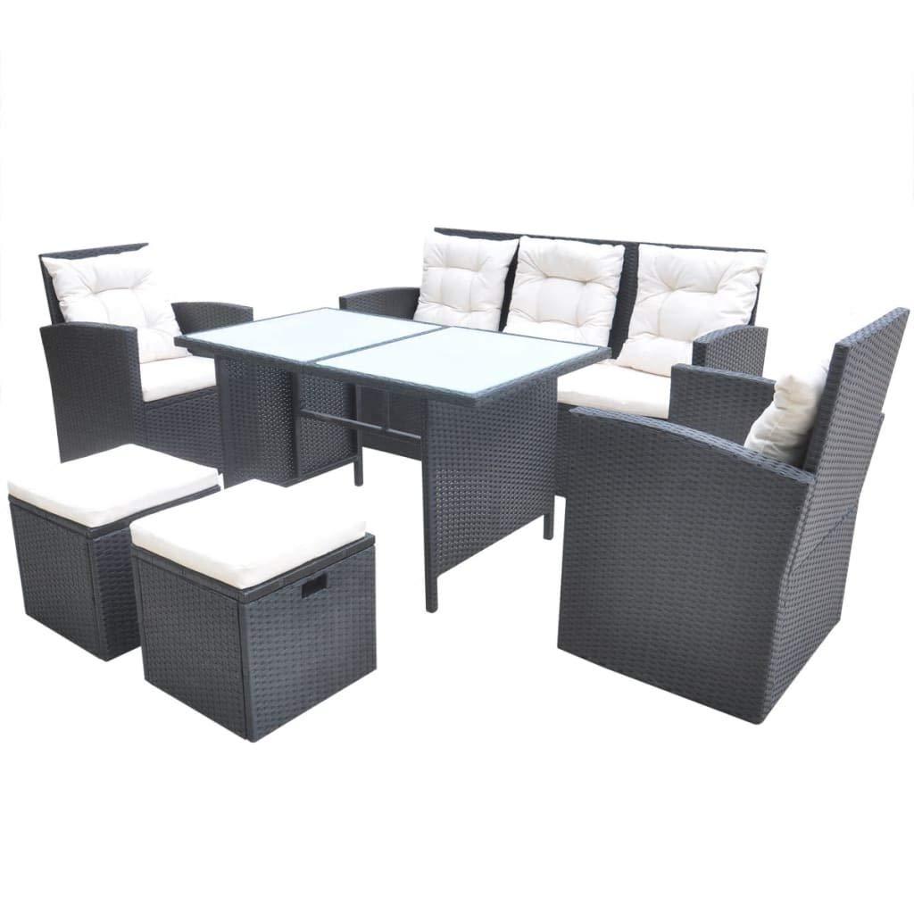 Xinglieu Set Tisch und Stühle für Garten 18 teilig aus Polyrattan, Schwarz Set Stühle und Tisch Garten
