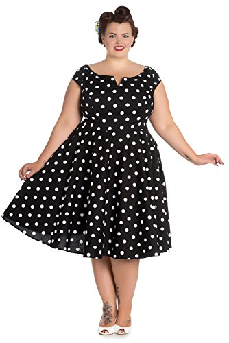 Hell-Bunny-Plus-50s-Retro-Mod-Black-White-Polka-Dot-Flare-Party-Dress