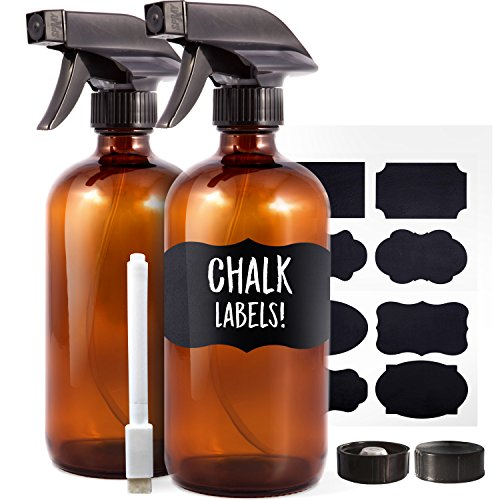 Cap Action Pen - Amber Glass Spray Bottles (2 Pack, 16 oz) - Bonus: 8 Chalk Labels + Pen - Empty Refillable Bottle for Essential Oils, Cleaning Products and Aromatherapy - Dual Action Trigger Sprayer with Mist, Stream