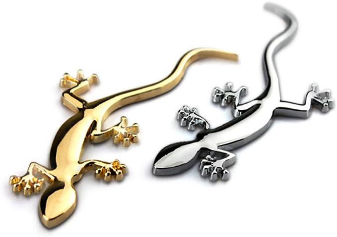 Dsycar 1 Paar 3d Metall Gecko Logo Auto Abzeichen Emblem Aufkleber 4 Stücke Gerändelten Stil Mit Kunststoffkern Ventilkappen Für Universal Car Styling Dekorative Zubehör Silber Auto