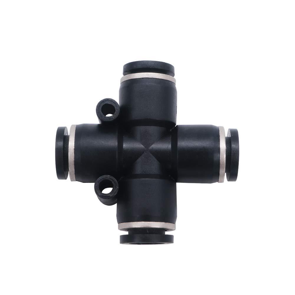 mxuteuk 5pcs 10mm Tube OD Pneumatic Connect Union Cross Type Fittings Tube Push Fit Fittings Tube Fittings Push Lock PZ-10 Cross Type Push to Connect Tube Plastic