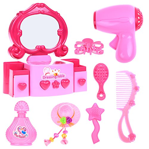 Pretend Makeup for Girls, Little Girls Makeup Set, Kids Makeup Kit Including Vanity with Light and Music, Hair Stylist Salon Pretend Play Set