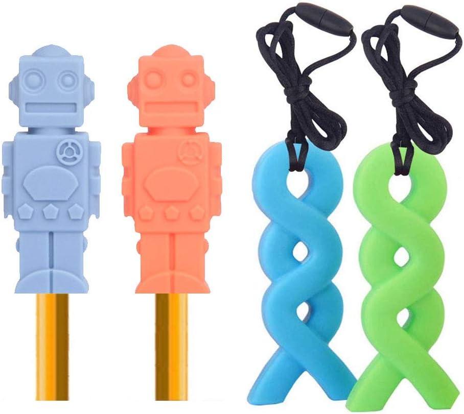 Paquet de 4 Jouets /à m/âcher sensoriels ANBET Lot de 2 paquets de Embout Crayon /à M/àcher et 2 paquets de collier /à m/âcher pour les enfants autistes soulagement des morsures anxi/ét/é