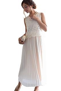 ea7d384fc1bf8 Vierge (ヴィエルジュ) レース プリーツ ロングドレス ワンピース 結婚式 二次会 パーティードレス フォーマル レディース