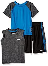 STX Toddler Boys\' 3 Piece Athletic Muscle Tank, T-Shirt and Short Set, Black/Turquoise, 3T